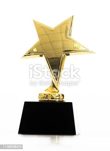 498910514istockphoto Gold star award on white background 1148538424
