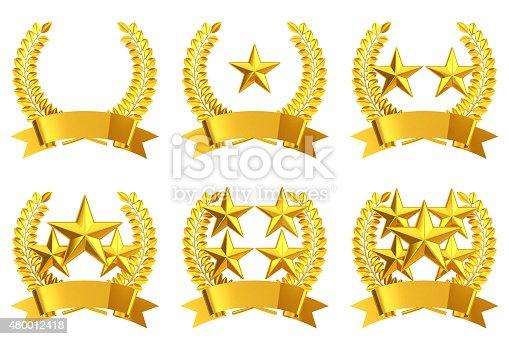 istock Gold star emblem set 480012418