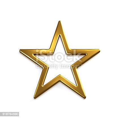 871072052 istock photo Gold Star Icon. 3D Gold Render Illustration 918764590