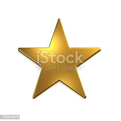 871072052 istock photo Gold Star Icon. 3D Gold Render Illustration 926929978