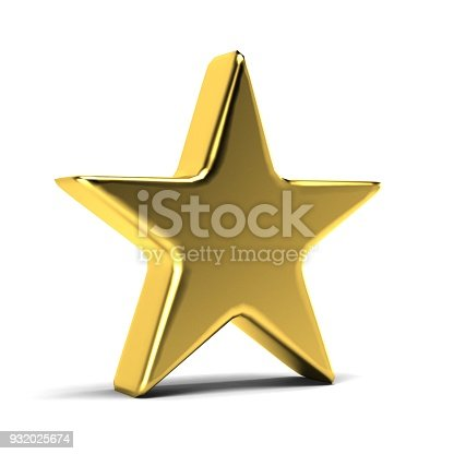 871072052 istock photo Gold Star Icon. 3D Gold Render Illustration 932025674