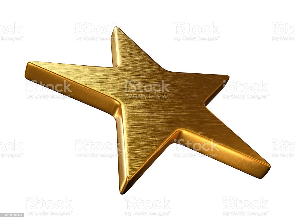 Gold Star in Perspective stock photo