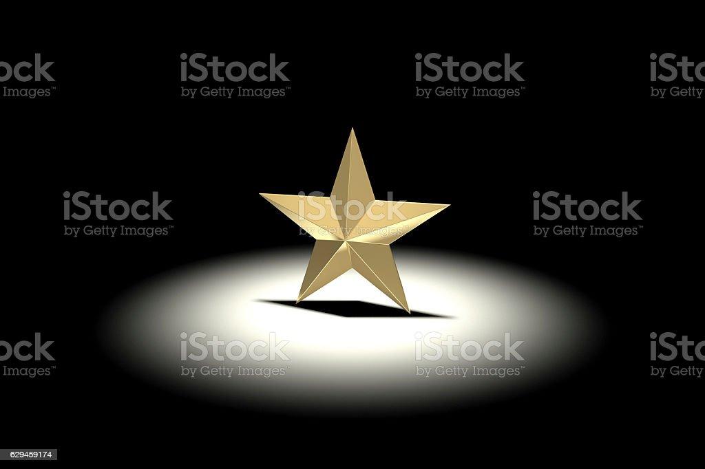 Gold Star in Spotlight stock photo