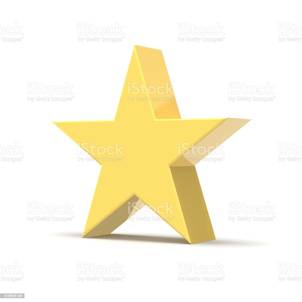 Gold Star, Isolated on White Background stock photo