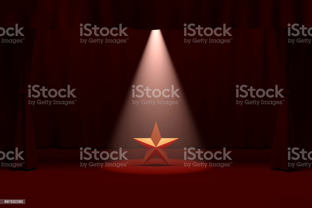 Gold Star on Stage stock photo