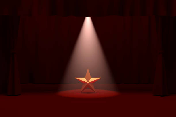 gold star on stage - celebrities stock pictures, royalty-free photos & images