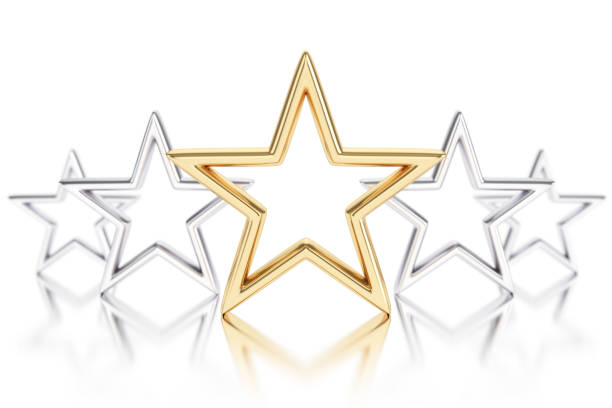 Gold star Gold and silver stars on white background first class stock pictures, royalty-free photos & images