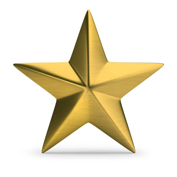 gold star Gold star. 3d image. White background. stars stock pictures, royalty-free photos & images