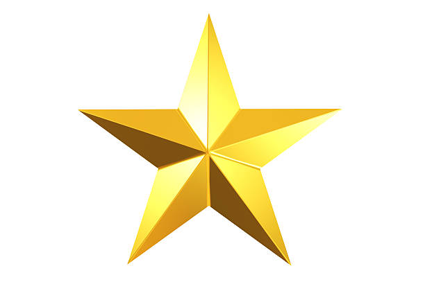 Gold Star 3D rendered gold star isolated. cusp stock pictures, royalty-free photos & images