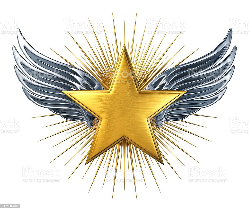 Gold Star With Silver Wings stock photo