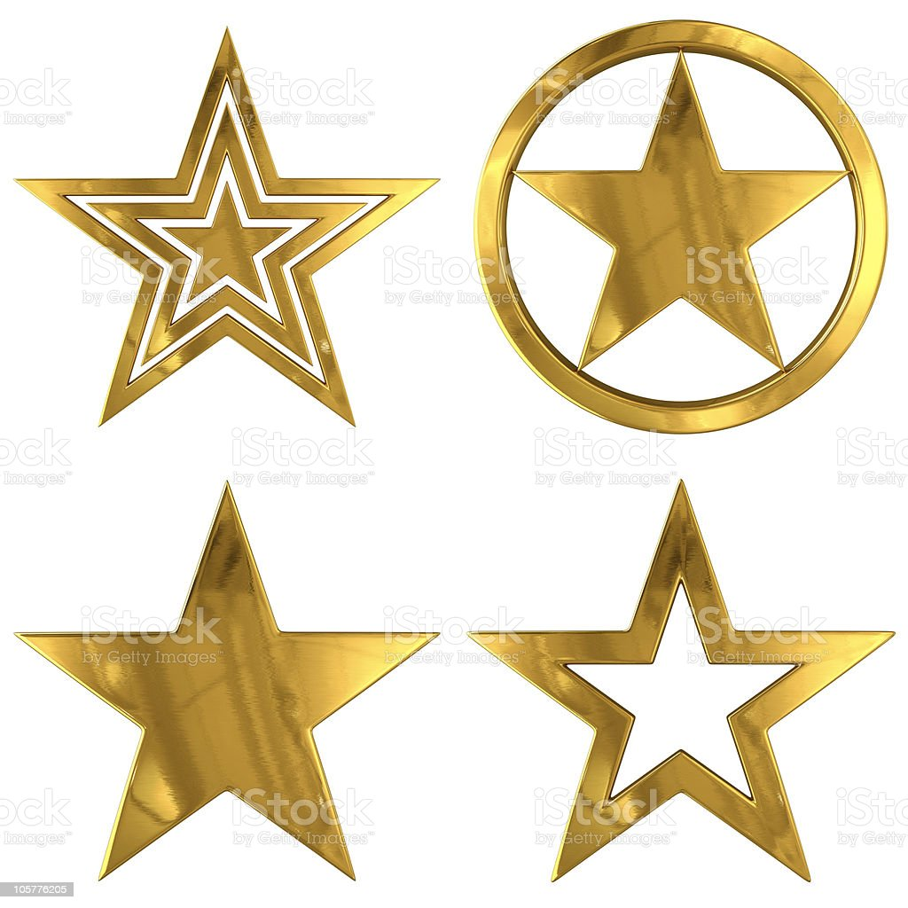 Gold Stars (4 variants) stock photo