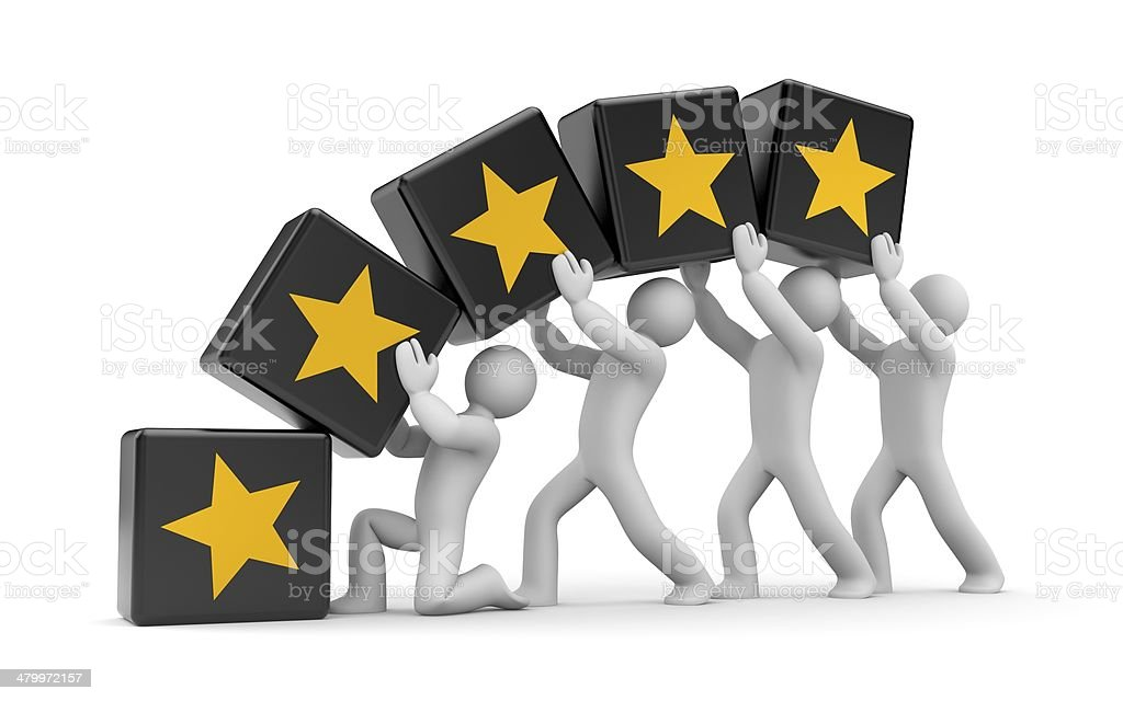 5 gold stars. Teamwork metaphor stock photo