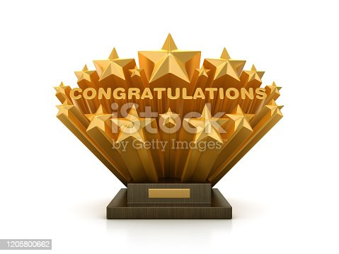 Gold Stars with CONGRATULATTIONS Word  on Trophy - 3D Rendering