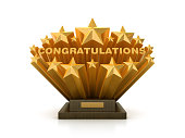 istock Gold Stars with CONGRATULATIONS Word  on Trophy  - 3D Rendering 1205800662