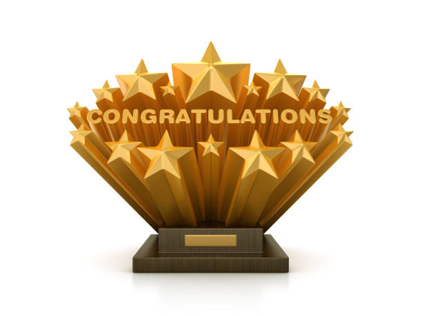 Gold Sterne mit CONGRATULATIONS Word on Trophy - 3D Rendering – Foto