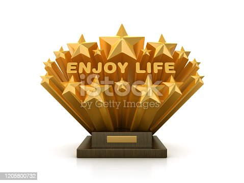 Gold Stars with ENJOY LIFE Word  on Trophy - 3D Rendering