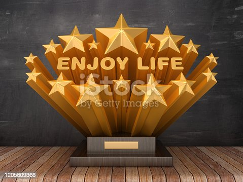 Gold Stars with ENJOY LIFE Word  on Trophy - Chalkboard Background - 3D Rendering
