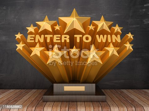 Gold Stars with ENTER TO WIN Phrase on Trophy - Chalkboard Background - 3D Rendering