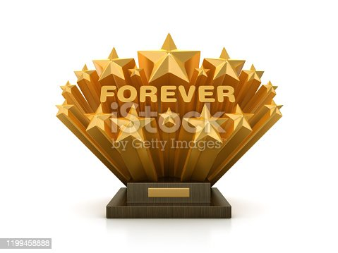 istock Gold Stars with FOREVER Word  on Trophy - Chalkboard Background - 3D Rendering 1199458888