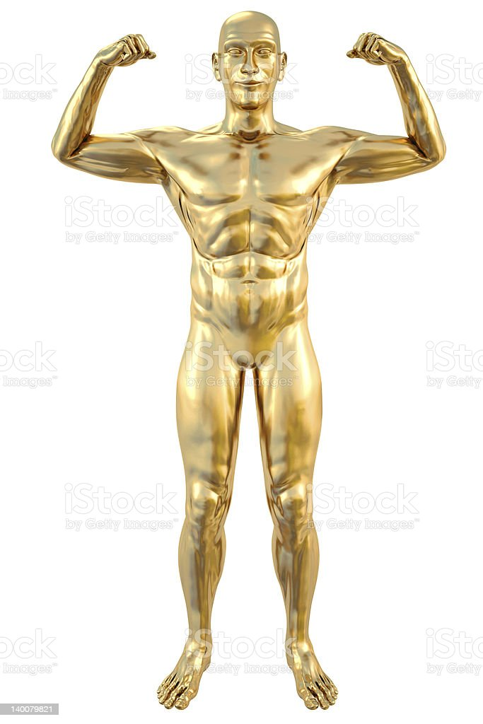 A gold statue facing forward and flexing both arms royalty-free stock photo