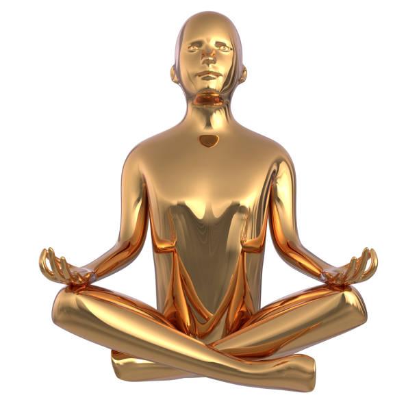 gold statue mann yoga lotus position stilisierte eisen figur konzept - achtsamkeit persönlichkeitseigenschaft stock-fotos und bilder