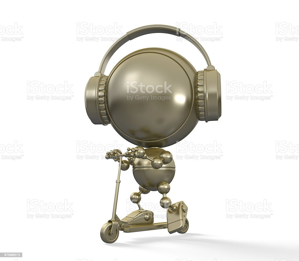 Gold statuette of teen that drives scooter in earphones royalty-free stock photo