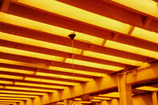 Gold striped ceiling architecture - low angle view
