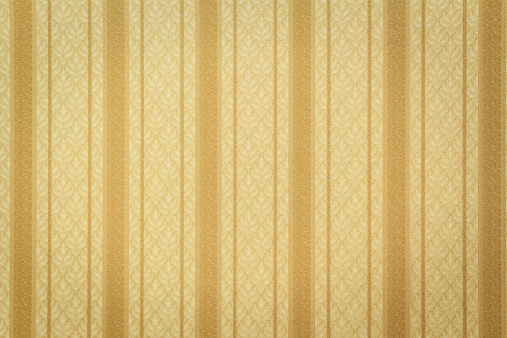 Gold striped wallpaper with floral pattern