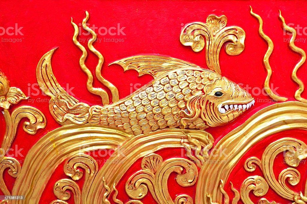 gold Sztukateria design z native tajskim stylu ściany zbiór zdjęć royalty-free