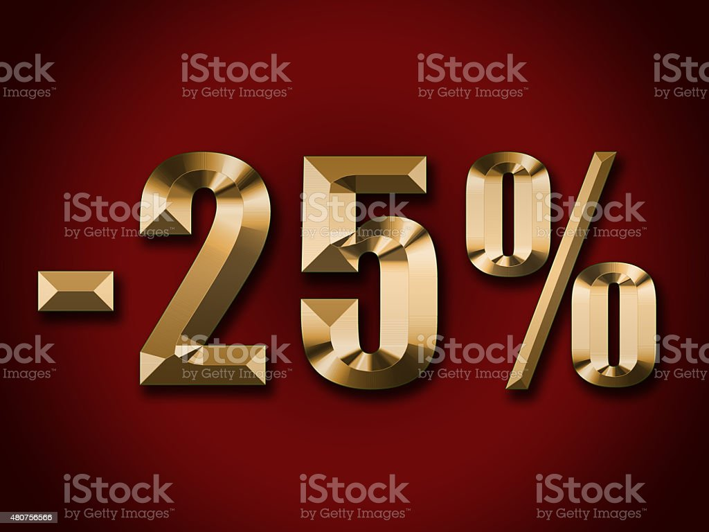 gold text 25 percent discount on red background stock photo