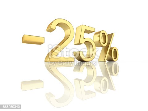 istock Gold text 25 percent off on white background with reflection 3D render 668260340