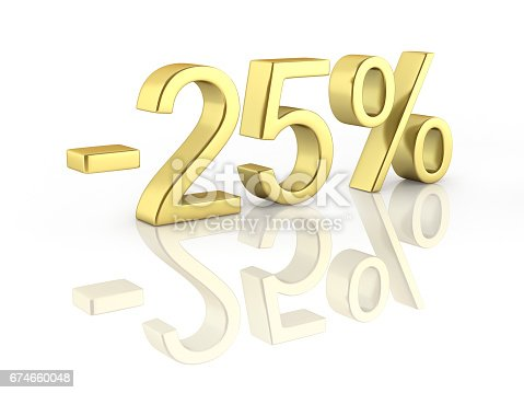 istock Gold text 25 percent off on white background with reflection 3D render 674660048