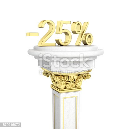 istock Gold text 25 percent off standing on the pedestal isolated on white background 3D render 672916072