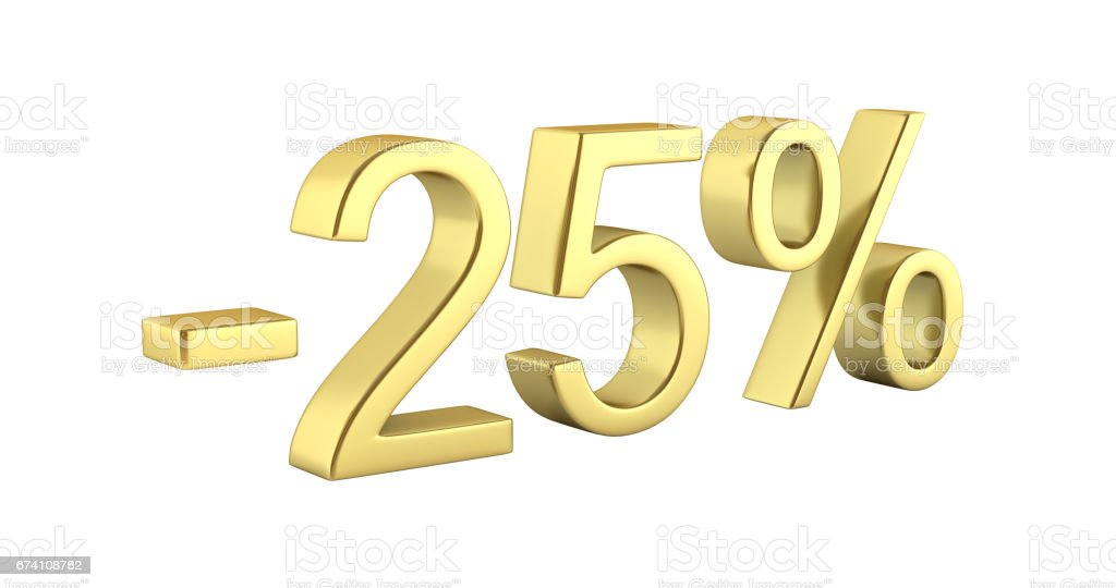Gold text 25 percent off without shadow on white background with reflection 3D render royalty-free stock photo