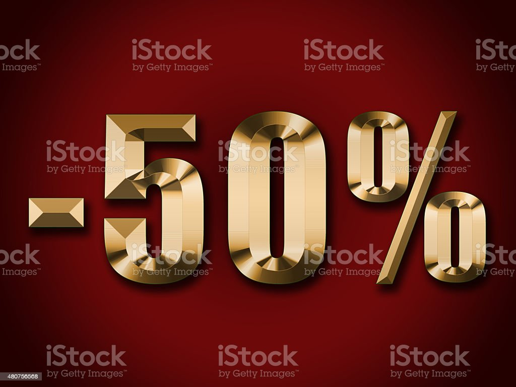 gold text 50 percent discount on red background stock photo