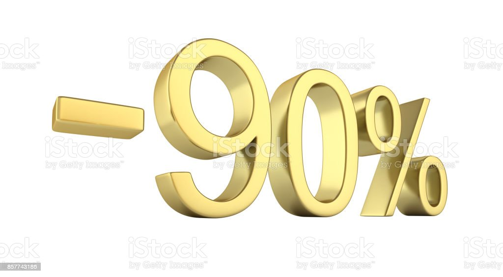 Gold text 90 percent off on white background without shadow 3D render stock photo