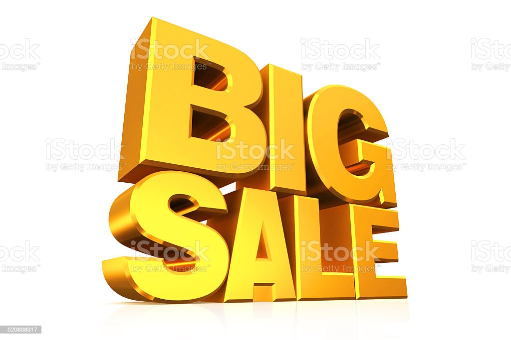 3D gold text big sale. stock photo