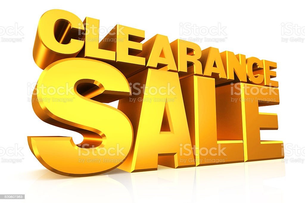 3D gold text clearance sale. stock photo