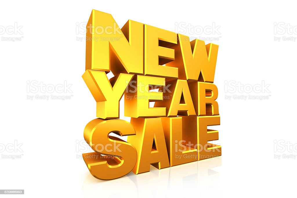 3D gold text new year sale. stock photo