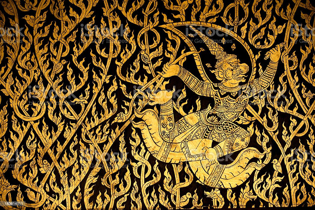 gold thai motif background design royalty-free stock photo