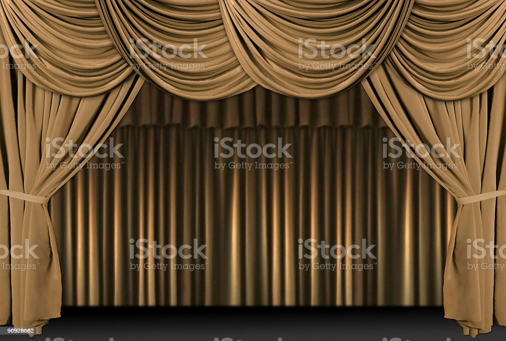 Gold Theater Stage Draped With Curtains royalty-free stock photo