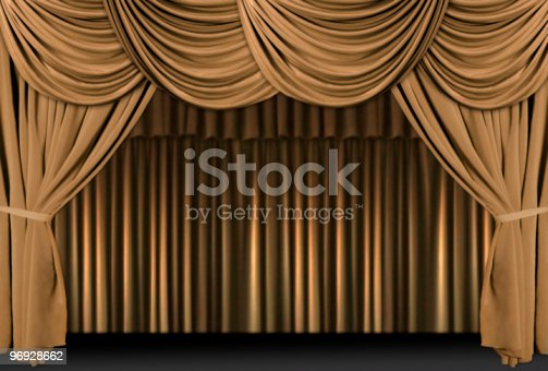 istock Gold Theater Stage Draped With Curtains 96928662