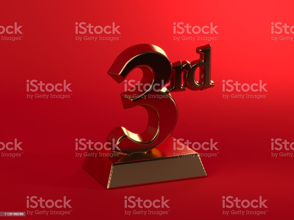 Gold third place, 3rd on red background stock photo