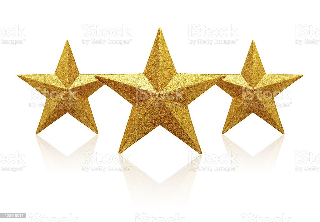 Gold three Stars (Clipping path!) isolated on white background stock photo
