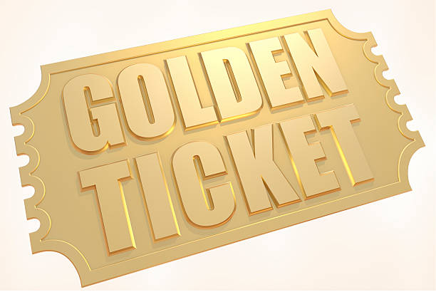 gold ticket - ticket stock photos and pictures