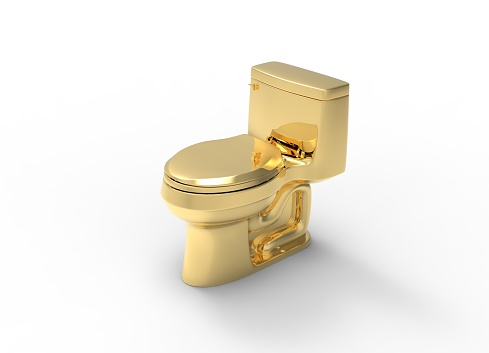 Gold Toilet Object 3d Rendering Stock Photo - Download Image Now - iStock