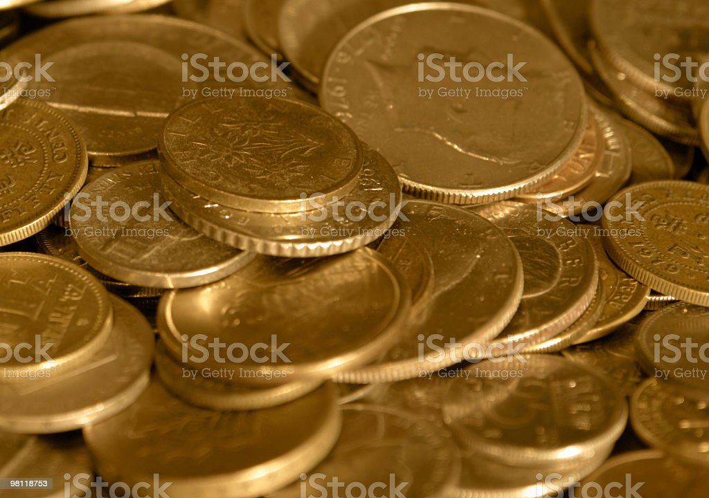 gold toned international coins royalty-free stock photo