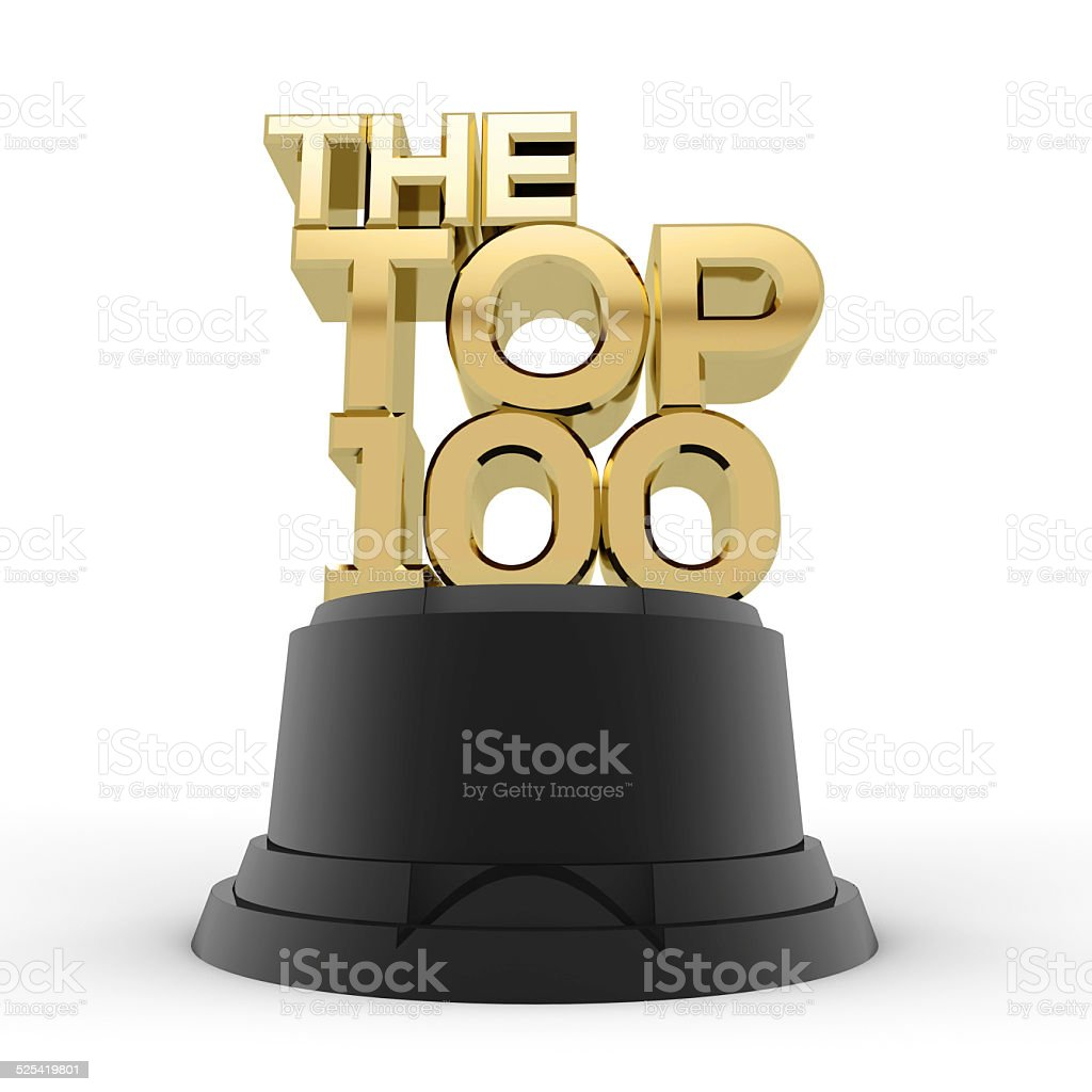 Gold top 100 trophy stock photo