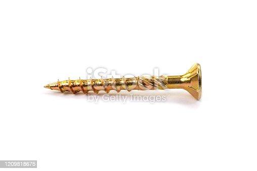 Gold torx screw isolated on white. Close-up yellow zinc chipboard screw Torx, , full thread.