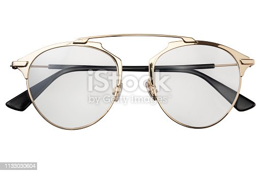 1047544590 istock photo Gold transparent eye glasses metal isolated on white background 1133030604